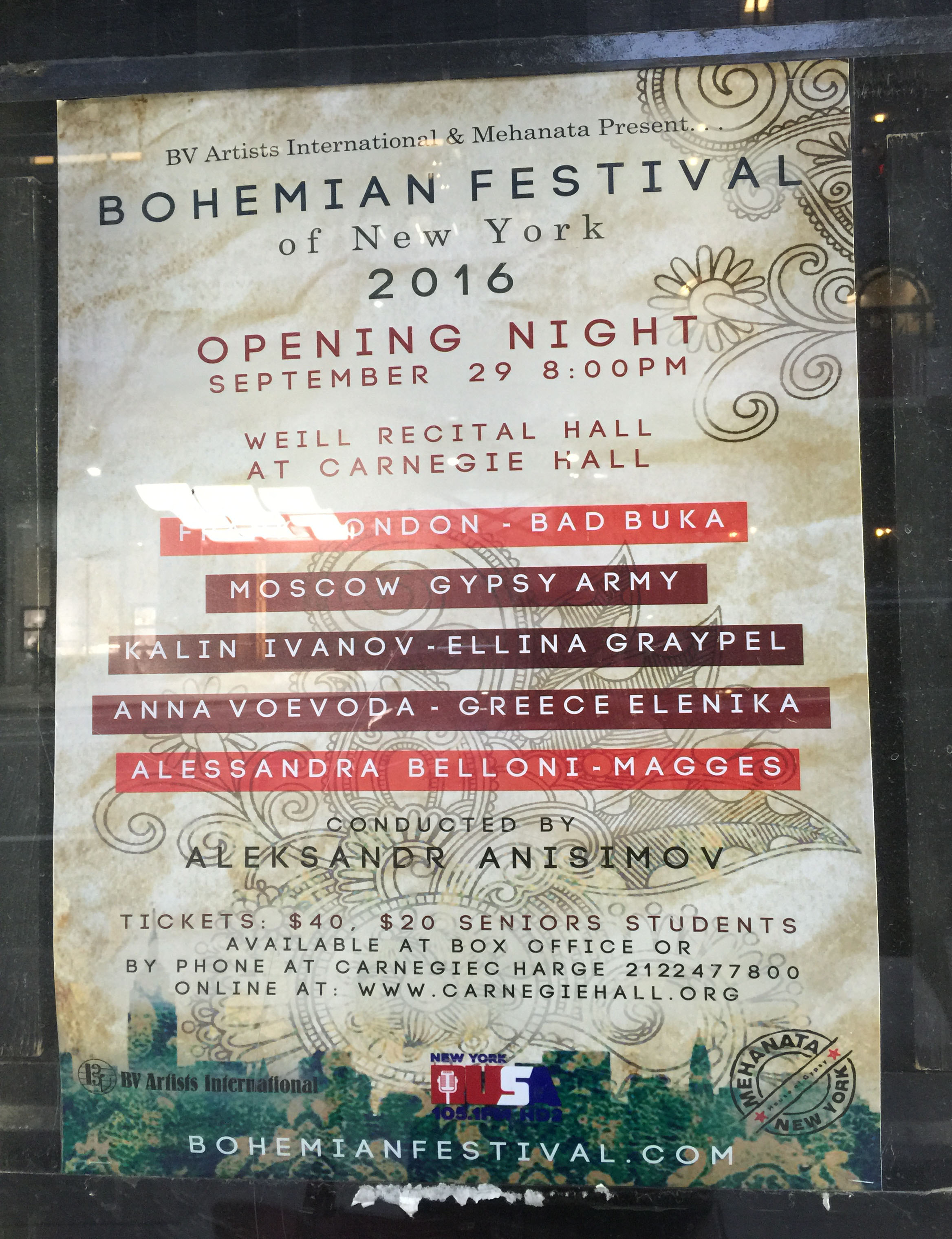 Program of the Bohemian Festival in Carnegie Hall in New York City