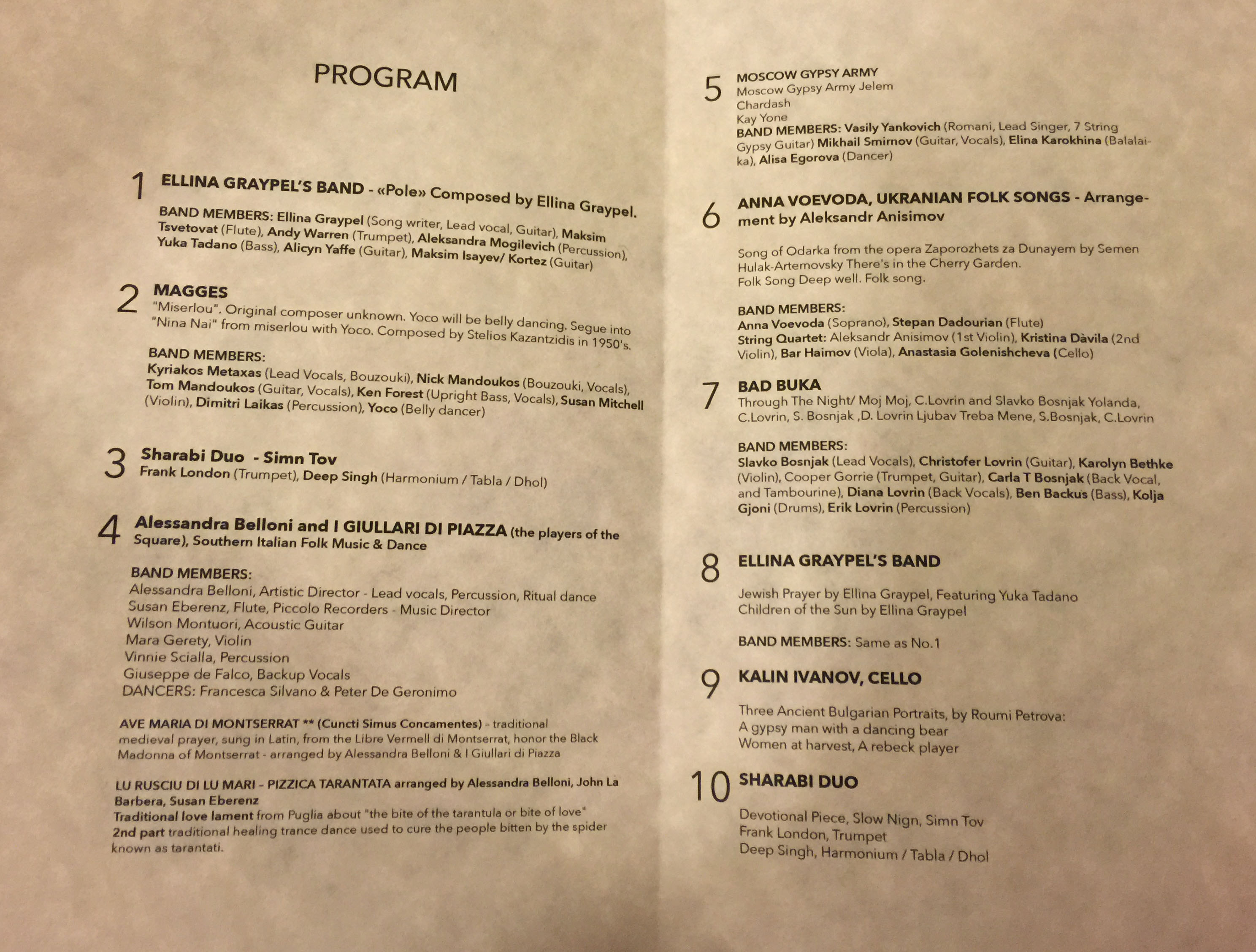 Printed program of the Bohemian Festival in Carnegie Hall, New York City
