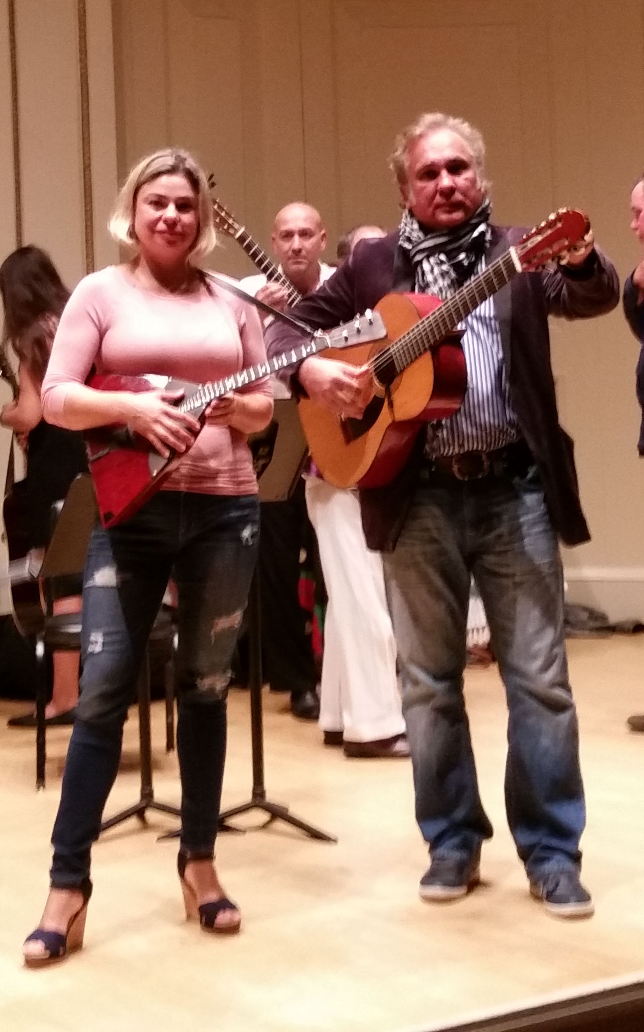 Moscow Gypsy Army, Elina Karokhina, Vasily Yankovich-Romani, rehearsal at the Carnegie Hall in New York City