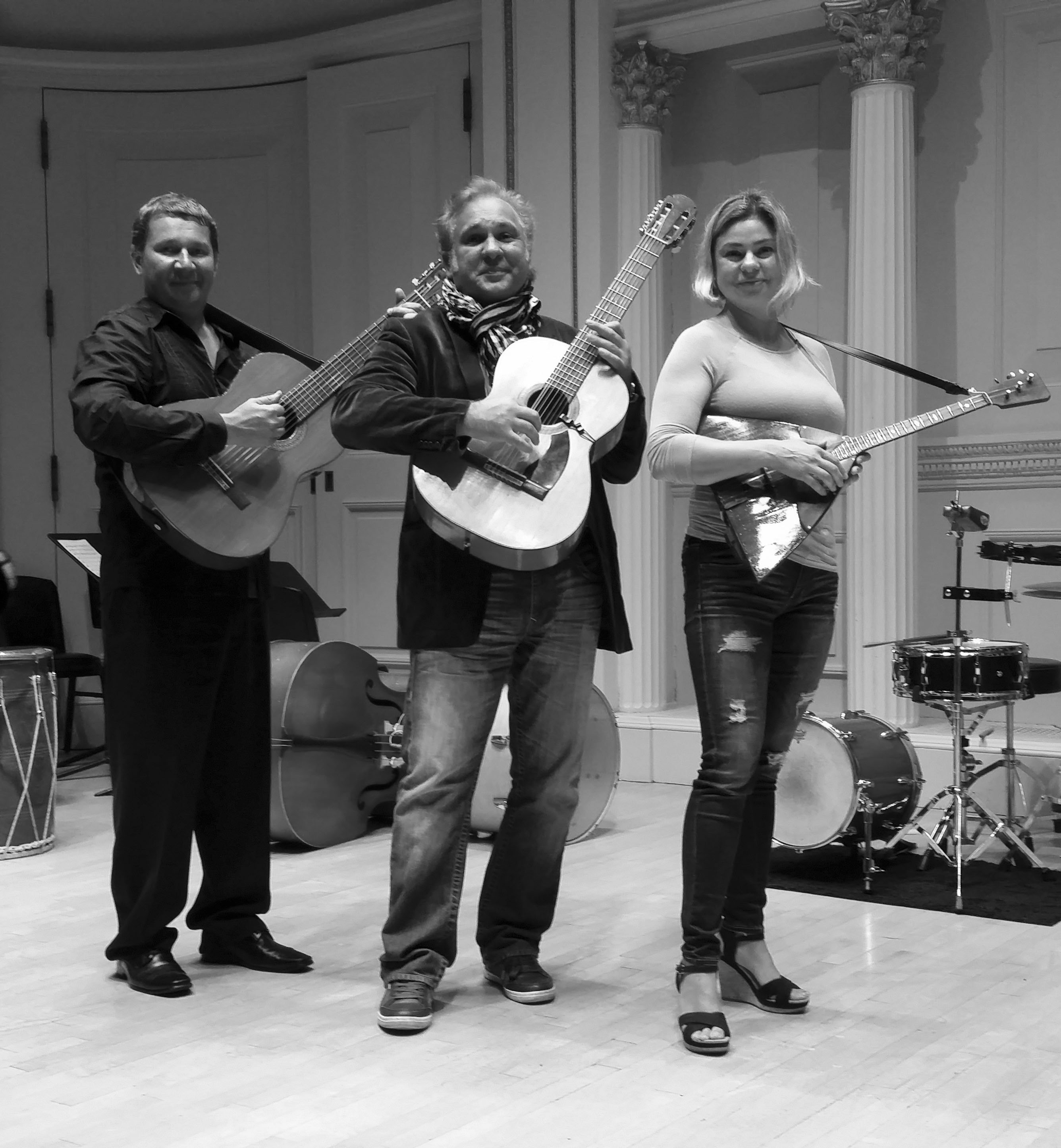 Moscow Gypsy Army, Mikhail Smirnov, Vasily Yankovich-Romani, Elina Karokhina, rehearsal at the Carnegie Hall in New York City